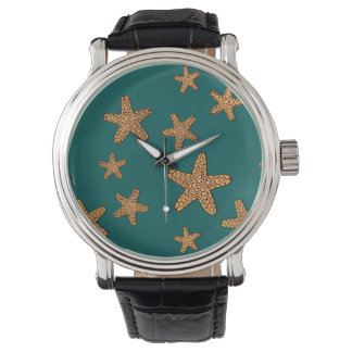 Orange Starfish Pattern Watches