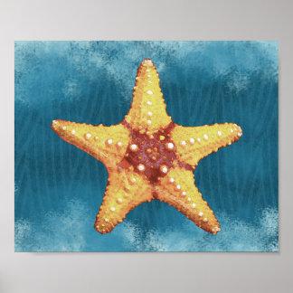 Orange Starfish Print
