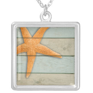 Orange Starfish Silver Plated Necklace