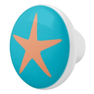 Orange Starfish turquoise beach theme ceramic knob