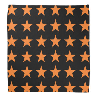 Orange Stars Black Bandana