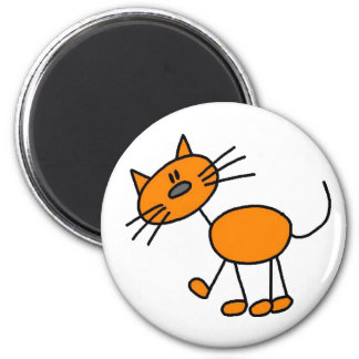 Orange Stick Figure Cat Magnet