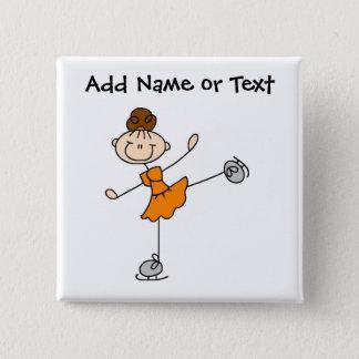 Orange Stick Figure Ice Skater Button