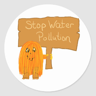 orange stop water pollution classic round sticker