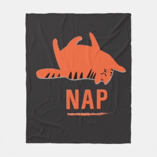 Orange Stripe Cat Nap Fleece Blanket