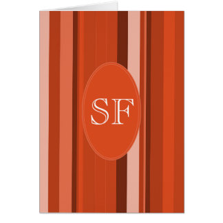 Orange Stripe Monogram Card