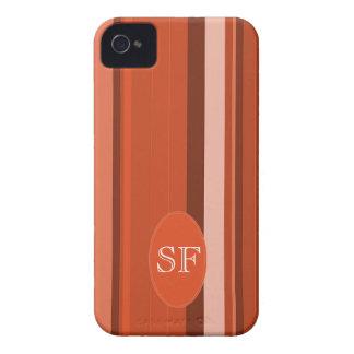 Orange Stripe Monogram iPhone 4 Case-Mate Cases