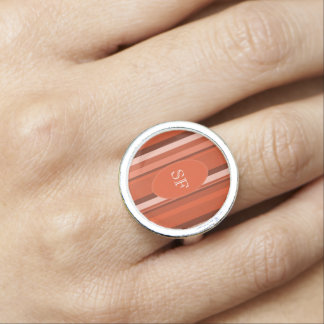 Orange Stripe Monogram Rings