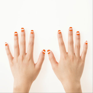 Orange Stripe Nail Coverings Minx Nail Art