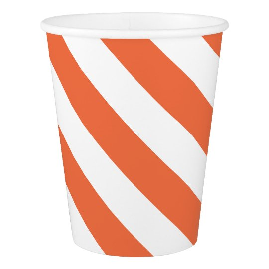 Orange Striped Paper Cup