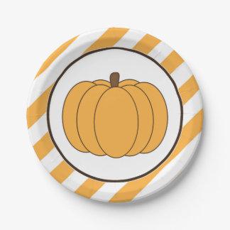 Orange Striped Pumpkin Party Fall Plates