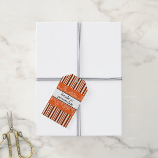Orange Stripes and Curls Gift Tags