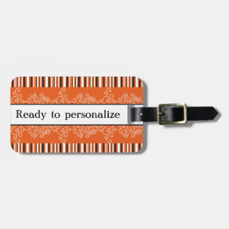 Orange Stripes and Curls Luggage Tag