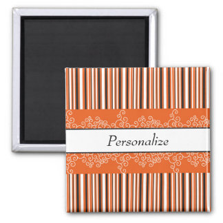 Orange Stripes and Curls Magnet