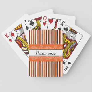 Orange Stripes and Curls Playing Cards
