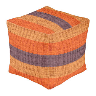 Orange Stripes Burlap Rustic Jute Pouf