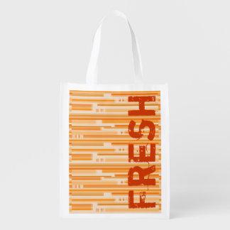Orange Stripes Fresh Groceries Bag