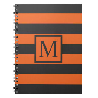 Orange Stripes Halloween Monogram | Guestbook Notebooks