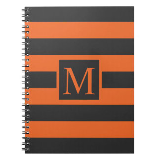 Orange Stripes Halloween Monogram | Guestbook Spiral Notebook