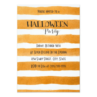 Orange stripes Halloween Party Invitation