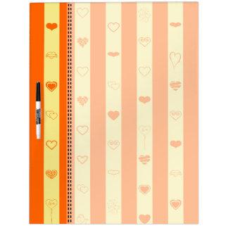 Orange Stripes Modern Heart Pattern Dry Erase Board