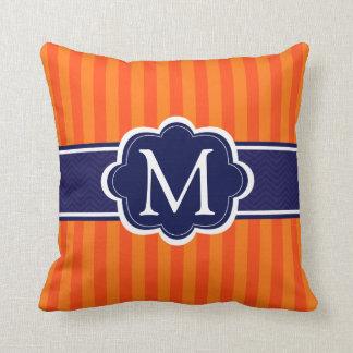 Orange Stripes Navy Blue Custom Monogram Initial Throw Pillow