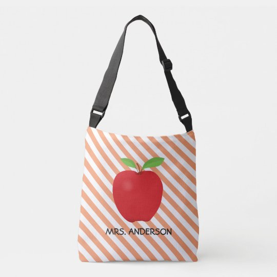 Orange Stripes, Red Apple Personalized Teacher Crossbody Bag