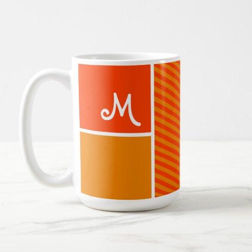 Orange Stripes; Striped Coffee Mugs