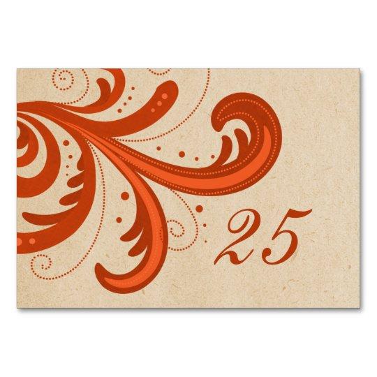 Orange Stylish Swirls Table Card