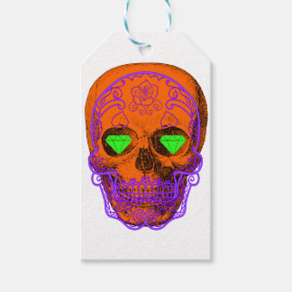 Orange Sugar Skull Gift Tags