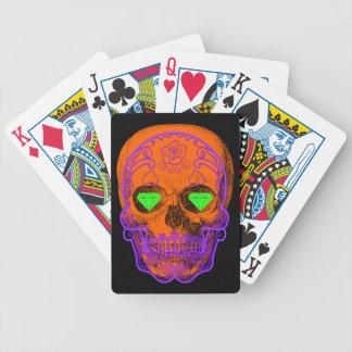 Orange Sugar Skull Playing Cards