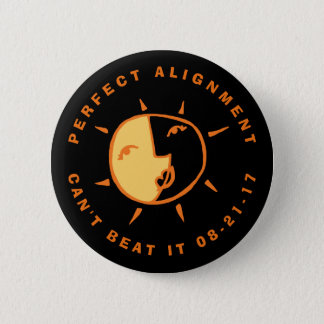 Orange Sun and Moon Eclipse Perfect Alignment 2 Inch Round Button