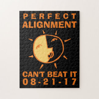 Orange Sun and Moon Eclipse Perfect Alignment Jigsaw Puzzle