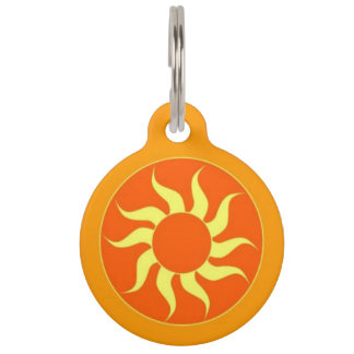 Orange Sun Pet ID Tag