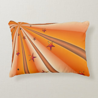 Orange Sunburst and Stars Accent Pillow