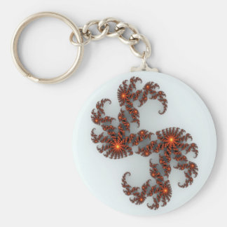 Orange Sunburst Fractal Basic Round Button Keychain