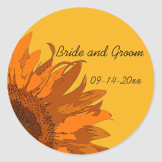 Orange Sunflower on Yellow Wedding Envelope Seals