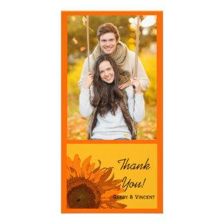 Orange Sunflower on Yellow Wedding Thank You Photo Card Template