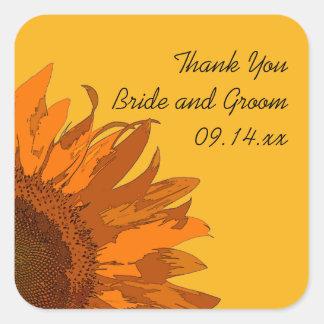 Orange Sunflower on Yellow Wedding Thank You Square Stickers