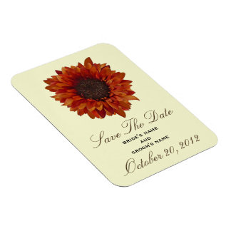 Orange Sunflower Save The Date Magnet