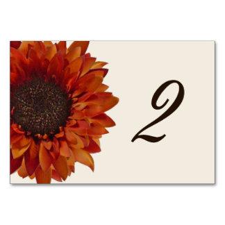 Orange Sunflower Wedding Table Number Card
