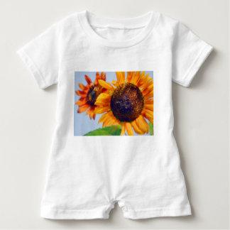 Orange Sunflowers Baby Romper