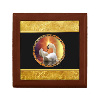 Orange sunset behind a White Swan with gold foil Gift Box