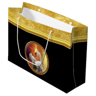 Orange sunset behind a White Swan with gold foil Large Gift Bag