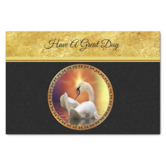 Orange sunset behind a White Swan with gold foil Tissue Paper