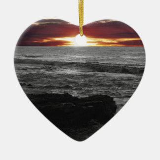 Orange Sunset Ceramic Heart Ornament