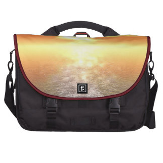 Orange Sunset Haze Sparkle Over Sea and Horizon Laptop Bag