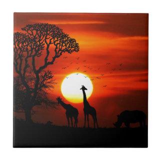 Orange Sunset in Africa w Giraffe Silhouette Tile