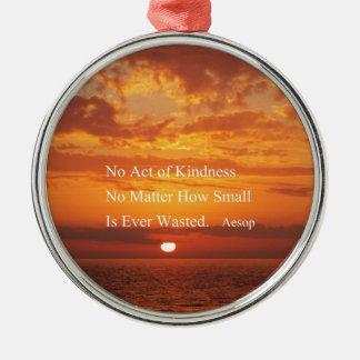 Orange Sunset Kindness quote Aesop Metal Ornament