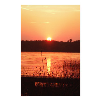 Orange Sunset on the lake Stationery